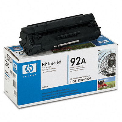 C4092A (HP 92A) Toner, 2500 Page-Yield, Black
