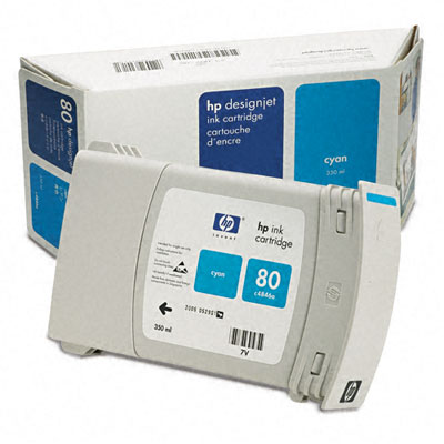C4846A (HP 80) Ink, 2200 Page-Yield, Cyan