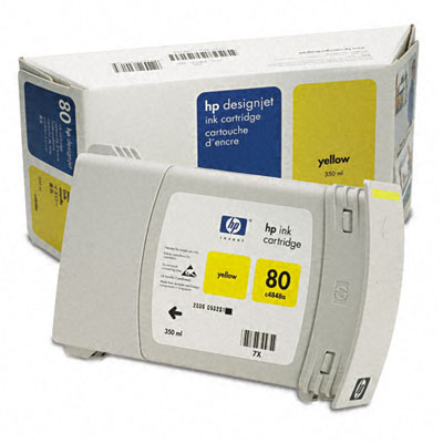 C4848A (HP 80) Ink, 2200 Page-Yield, Yellow