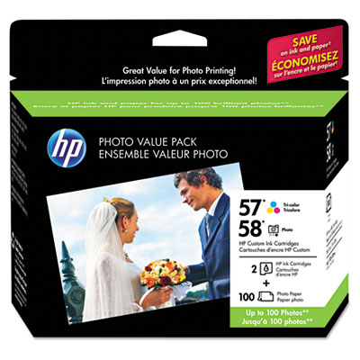 57/58 Series Ink Cartridge/Paper Photo Value Pack w/100 Glossy 4 x 6 Sheets