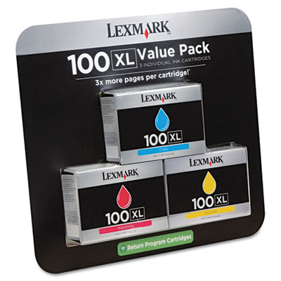 14N1188 (100XL) High-Yield Ink, 3/Pack, 600 Page-Yield, Cyan, Magenta, Yellow